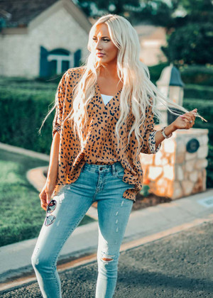 Timing Is Right Spotted Geometric High Low Blouse Taupe CLEARANCE
