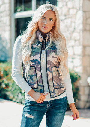 Love Yourself Camo Puffer Zip Vest
