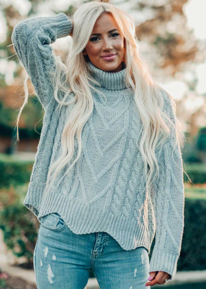 Take It All In Cable Knit Turtleneck Sweater Gray