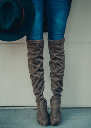 Keep On Walkin Over The Knee Boot Taupe