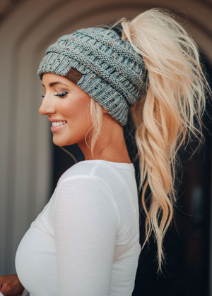 (Cyber Monday) Ponytail Confetti Beanie Natural Gray