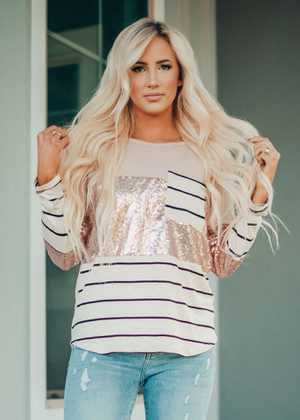Stripe and Sequins Thermal Waffle Knit Top Blush