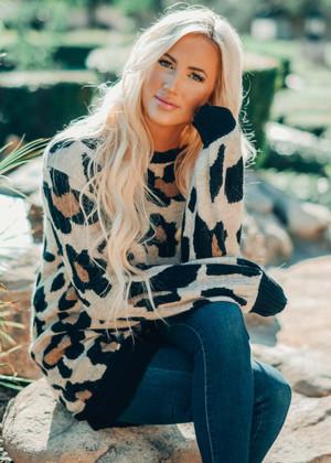 Perfect Leopard Print Trim Sweater Tunic CLEARANCE