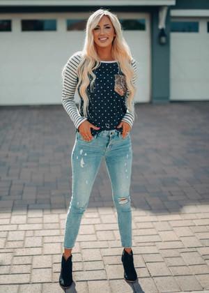 Polka Dots and Stripe Sequin Pocket Top Black