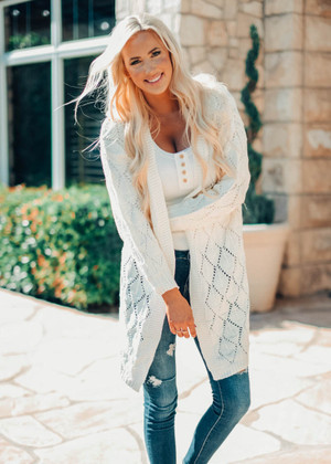 Bubble Sleeve Side Slit Knit Cardigan Off White