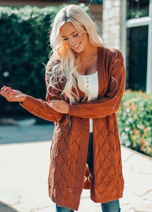 Bubble Sleeve Side Slit Knit Cardigan Hazel