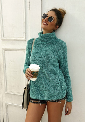 Fuzzy Perfect Sweater Pullover Teal
