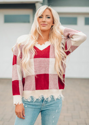 I See The Truth Plaid Distressed Sweater Wine
