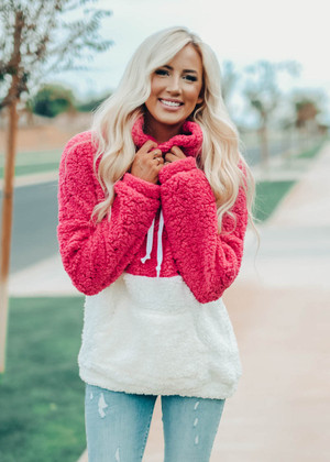 Cozy On Up Fuzzy Cowl Neck Oversized Sweater Pink