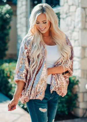 Pink Sequins Bubble Style Dolman Style Open Cardigan CLEARANCE
