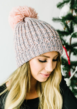 (Black Friday) Pink and Gray Pom Pom Beanie