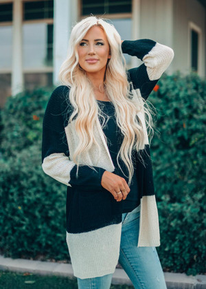 Black and Ivory Striped Transition Pocket Cardigan CLEARANCE