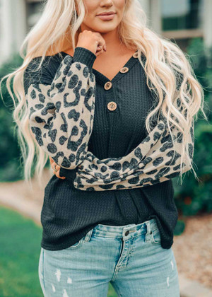 Thermal Waffle Button Detail Leopard Puff Sleeve Top Black