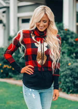 Christmastime Is Here Checkered Sequins Deer Top Red CLEARANCE