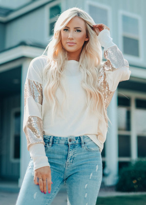 Starting Right Now Waffle Sequins Top Cream