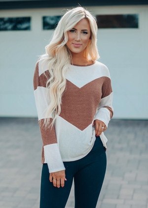 Textured Two Toned Waffle Loose Fit Top Brown