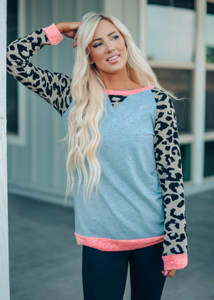 Leopard Printed Contrast Tunic Heather Gray