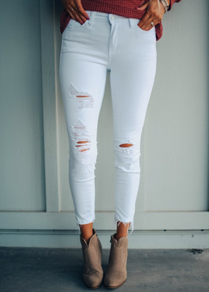 Dance With You White Distressed Jeans CLEARANCE