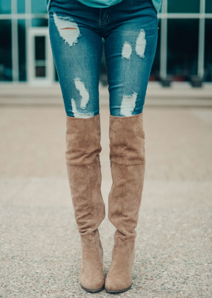 My Favorite Knee High Suede Boots Taupe
