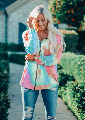 Rainbow Paradise Zip Up Hoodie Pink CLEARANCE