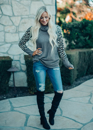 Never On Time Leopard Sleeve Cowl Neck Top Brown CLEARANCE
