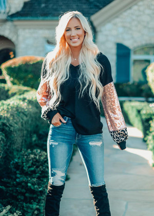Stars In Your Eyes Leopard and Sequins Sleeve Top Black