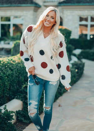 Just Wanna Have A Good Time Polka Dot Sweater Cream CLEARANCE