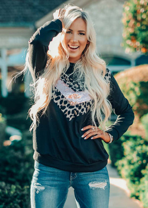 Love To See You Shine Leopard Sequins Top Black