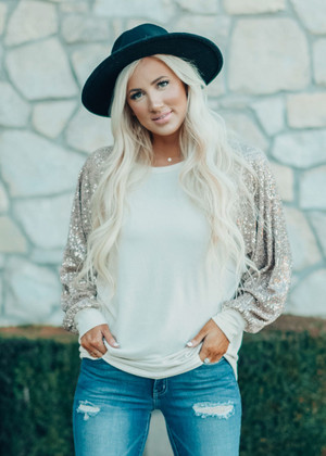 Diamonds In The Sky Sequins Sleeve Top Taupe CLEARANCE