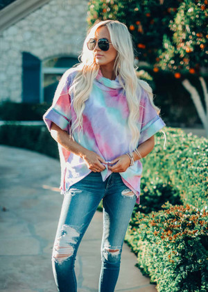 Spring Watercolor Oversized Cowl Neck Poncho Top