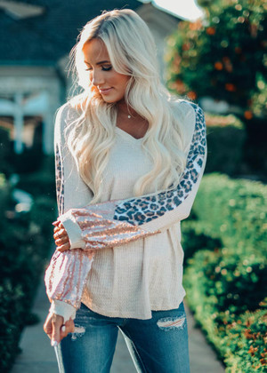 Out In The Jungle Sequins Detailed Top Oatmeal