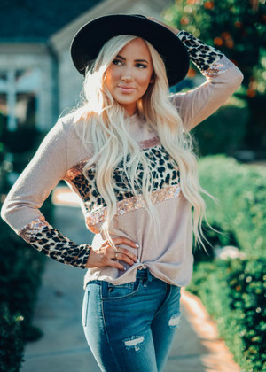 Dancing With A Stranger Sequins Top Taupe