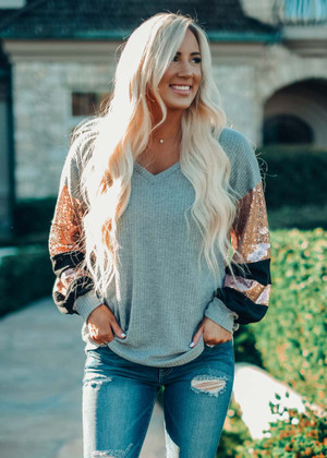 I'm Gonna Love You Sequin Sleeve Top Gray