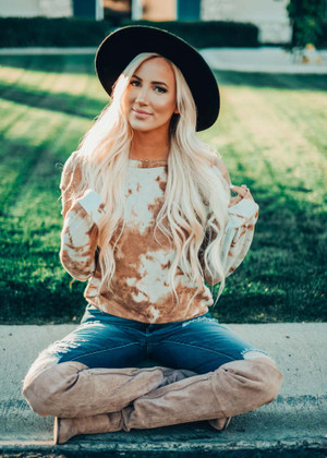 Just You And I Tie Dye Cutout Sleeve Top Copper