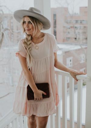 Light Weight Textured Ruffle Flare Dress Blush