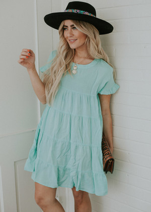 Light Weight Textured Ruffle Flare Dress Mint