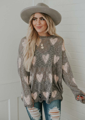 Heart Eyes For You Distressed Top Gray/Pink CLEARANCE