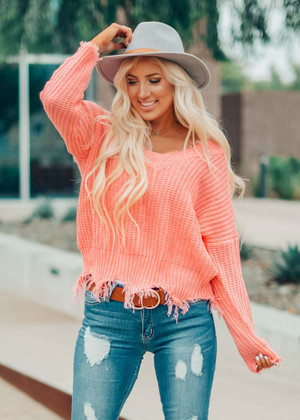 Think About Us Distressed Sweater Coral Peach