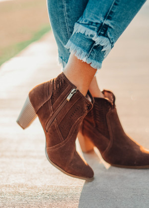 Racer Cutout Ankle Booties Mocha