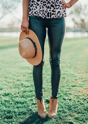 A Night To Remember Pleather Leggings Black