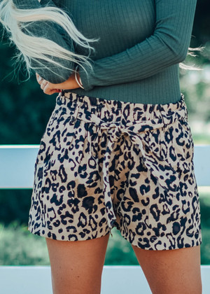 Falling Deeper For You Leopard Bubble Tie Shorts Khaki