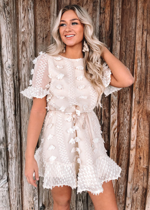 A Girl Like You Ruffle Dress Cream