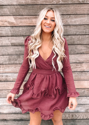 Give You The World Ruffle Dress Wine CLEARANCE