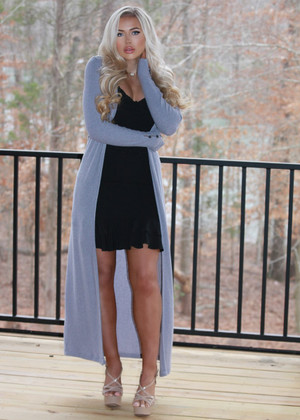 The Good Life Ribbed Long Button Cardigan Gray