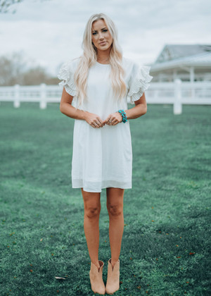 Pleated Ruffle Sleeve Shift Dress Off White