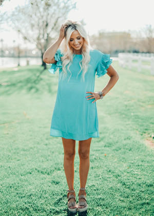 Pleated Ruffle Sleeve Shift Dress Aqua
