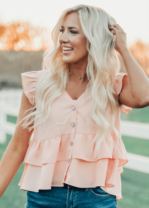 After You're Gone Ruffle Babydoll Top Peach