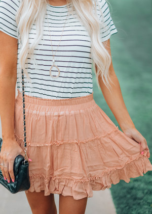Another Saturday Night Ruffle Skirt Peach