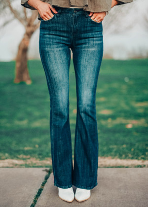 Kan Can USA Slim Fitting Flare Dark Denim Jeans