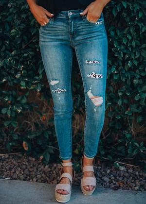 Anything Goes Leopard Patched Distressed Jeans
